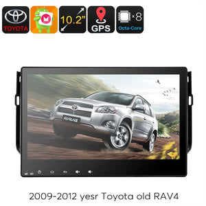 Autoradio multimediale Toyota RAV2 4 DIN - Touch screen da 10,2 pollici, processore Octa Core, sistema operativo Android, navigazione GPS, Bluetooth, supporto dongle 3G - Beewik-Shop.com