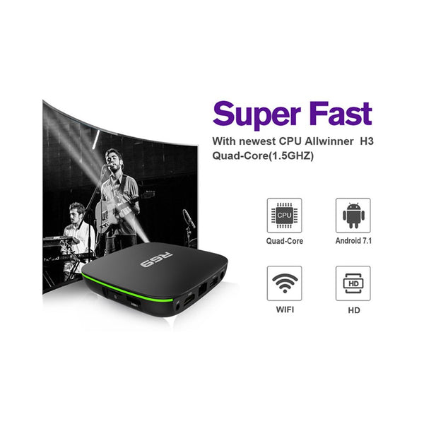 Smart TV Box R69 Android 7.1 1 GB + 8 GB Quad Core WIFI H.265 4K Lettore multimediale video spina UK - Beewik-Shop.com