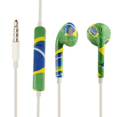 Brazil Flag Pattern EarPods with Remote and Mic, Random Color & Pattern Delivery , for iPhone 6 & 6s & 6 Plus & 6s Plus / iPhone 5 & 5S & SE & 5C, iPhone 4 & 4S, iPad / iPod touch, iPod Nano / Classic - Beewik-Shop.com