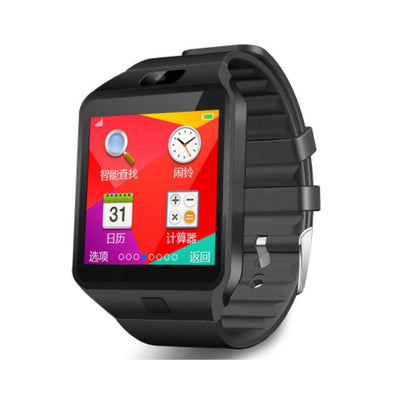 SIMU Smart Watch Sports Carte SIM Bluetooth 3.0 Rappel de message Montre électronique noir