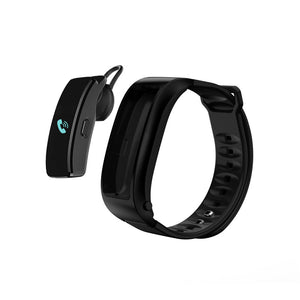 Bluetooth Headset Bracelet - 0.96inch Screen, Build in Microphone, Hands Free Phone Calls, Sedentary Reminder (Black)
