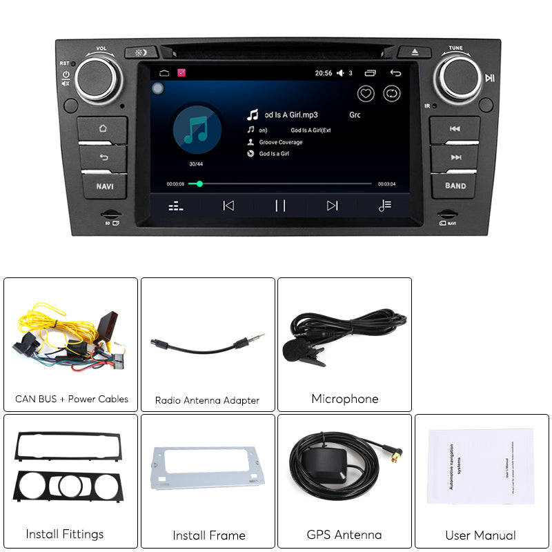 BMW 3 Series Android Car Stereo - GPS, Hands Free, Wi-Fi, Android 6 0, 4G  Support, CAN BUS, 7 Inch Display