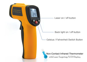 Non-Contact Infrared Thermometer with Laser Targeting and LCD Display - Beewik-Shop.com