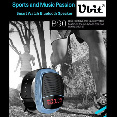 B90 Smart Portable Stereo Wireless Bluetooth V3.0 + EDR Sport Music Watch Speaker, Support Hands-free Calls & Intelligent Screen Display & FM Radio & TF Card & Cellphone Anti-lost(Blue) - Beewik-Shop.com