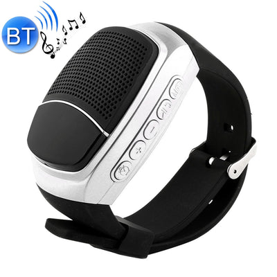 B90 Smart Portable Stereo Wireless Bluetooth V3.0 + EDR Sport Music Watch Speaker, Support Hands-free Calls & Intelligent Screen Display & FM Radio & TF Card & Cellphone Anti-lost(Silver) - Beewik-Shop.com