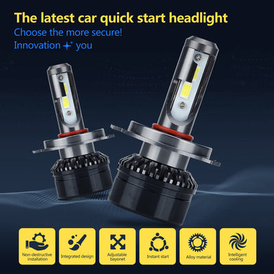 LED Car Headlight Bulbs - H4 Fitting, 5000 Lumen Each, 6000k White Light, IP67 Waterproof, Aluminum Body, 360-Degree Light - Beewik-Shop.com