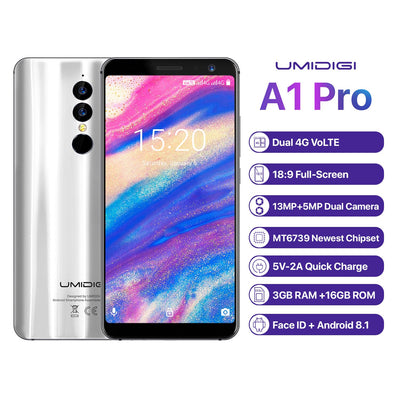 UMIDIGI A1 Pro 4G Smartphone-Android 8.1, 5.5 Inch, Face Unlock, 3150mAh, 3GB RAM, MTK6739 (Silver)
