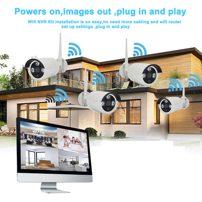 1080P 4 Channel NVR Kit - Linux OS, 4x HD Camera, 10-Inch Display, Nightvision, WiFi Support, SATA Hard Disk, 4TB Storage - Beewik-Shop.com