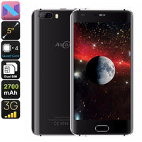 Allcall Rio Android Phone - Quad-Core CPU, Android 7.0, 5 Inch HD Display, Dual-IMEI, 3G, OTG, 2700mAh, 8MP Camera (Black)
