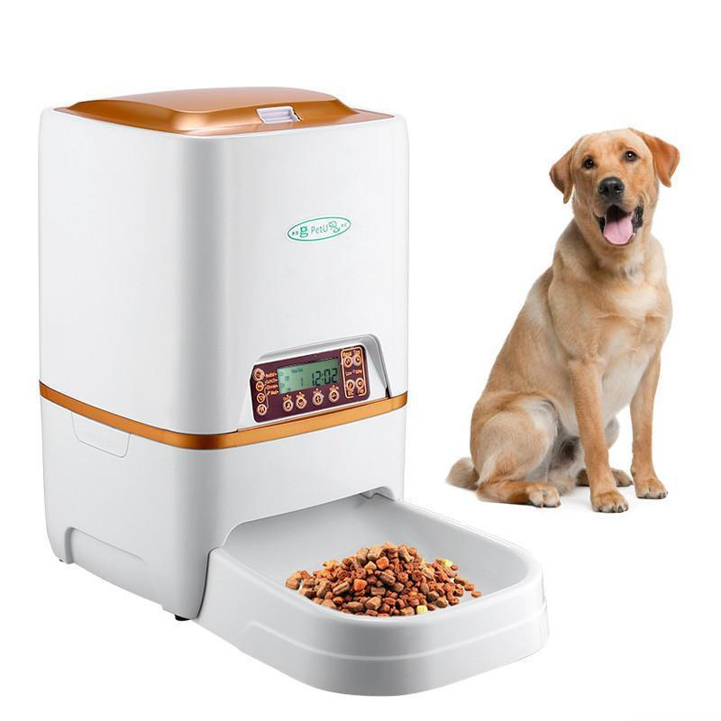 Automatic Pet Feeder - For Dry Food, 6L Capacity, Voice Record, Adjust Serving Size, Durable ABS Design