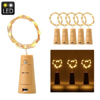 Cork-Shaped LED Light String - 6 Pieces, 18 Micro LED Per String, 3x LR44 Button Battery, 90cm String Lenght, Warm Yellow Light