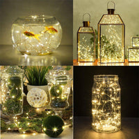 Cork-Shaped LED Light String - 6 Pieces, 18 Micro LED Per String, 3x LR44 Button Battery, 90cm String Lenght, Warm Yellow Light - Beewik-Shop.com