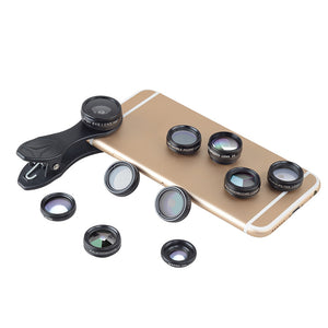 10-In-1 Smartphone Lens Kit - 15X Macro Lens, 0.63X Wide Angle Lens, 198-Degree Fisheye Lens, X2 Telescopic Lens , Filters - Beewik-Shop
