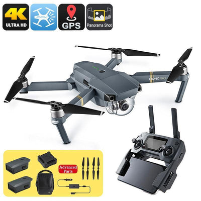 DJI Mavic Pro Camera Drone Combo Pack - GPS/GLONASS, 4 Mile Range, 4K Camera, 3 Batteries, Carry Bag, Folding - Beewik-Shop.com