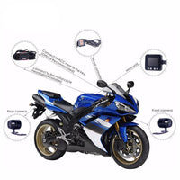 Dual-Camera Motorcycle DVR - 720p, IP57 Waterproof, Loop Recording, 2-Inch Display, 0.3MP CMOS, 120-Degree Lens