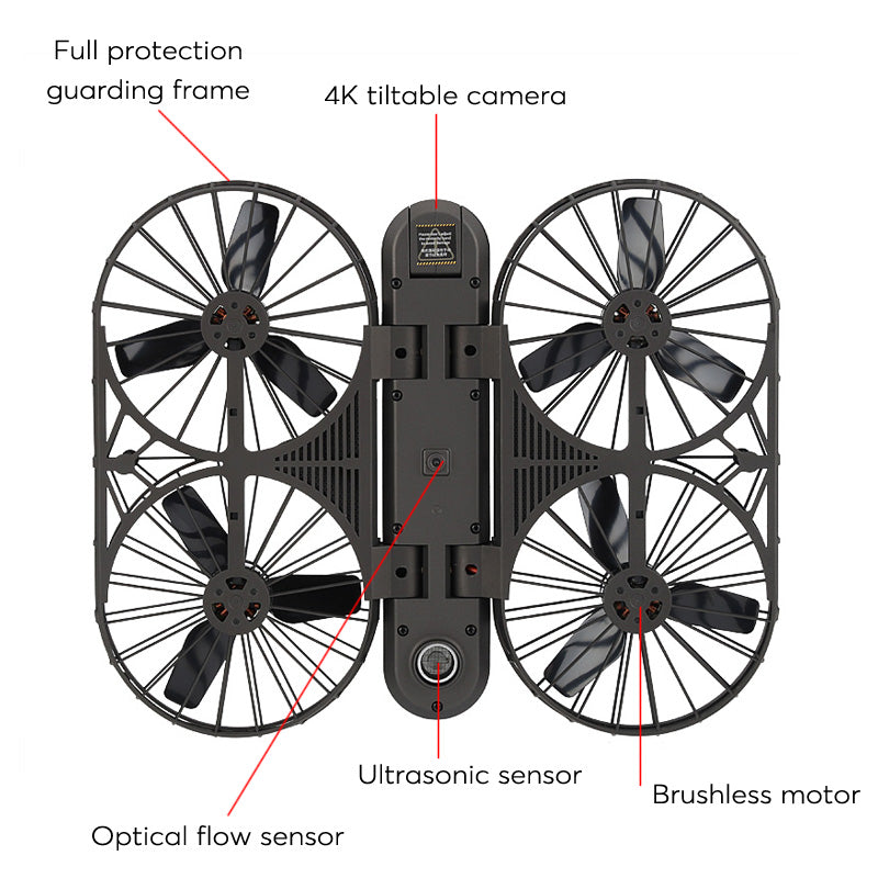 Simtoo Moment Airselfie Drone - Foldable, 13MP CMOS, 4K Video, GPS - Beewik-Shop.com