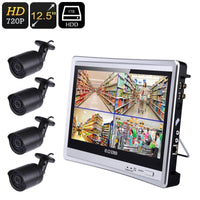 Four Channel DVR System - 20m Night Vision, 4x IP66 Waterproof Camera, 12.5-Inch Monitor, 720P HD, Local Playback - Beewik-Shop.com