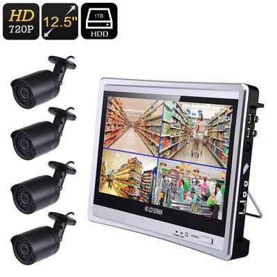 Four Channel DVR System - 20m Night Vision, 4x IP66 Waterproof Camera, 12.5-Inch Monitor, 720P HD, Local Playback