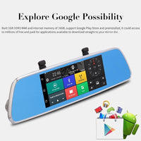 Full-HD Rearview Mirror Car DVR - 7 Inch, Android 5.0, GPS, Dual Camera, 3G, Quad-Core CPU, Google Play, G-Sensor, Built-In Mic