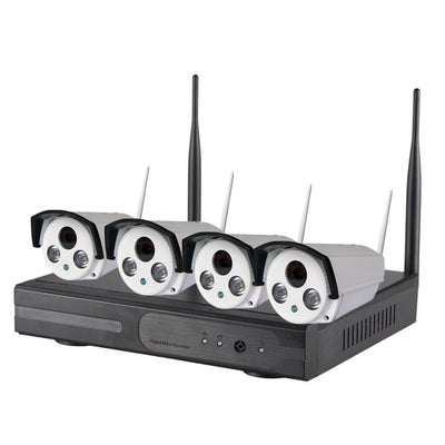 WiFi NVR Kit - 4 Cameras, 720p, 30m  Night Vision, IP67, IR Cut, App Support For iOS And Android 1TB HDD - Beewik-Shop.com