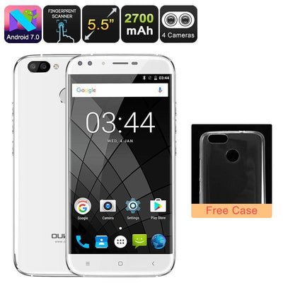 Phone Oukitel U22 Android CPU 5.5 Inch 720p Dual-Rear Cam (White) - Beewik-Shop.com