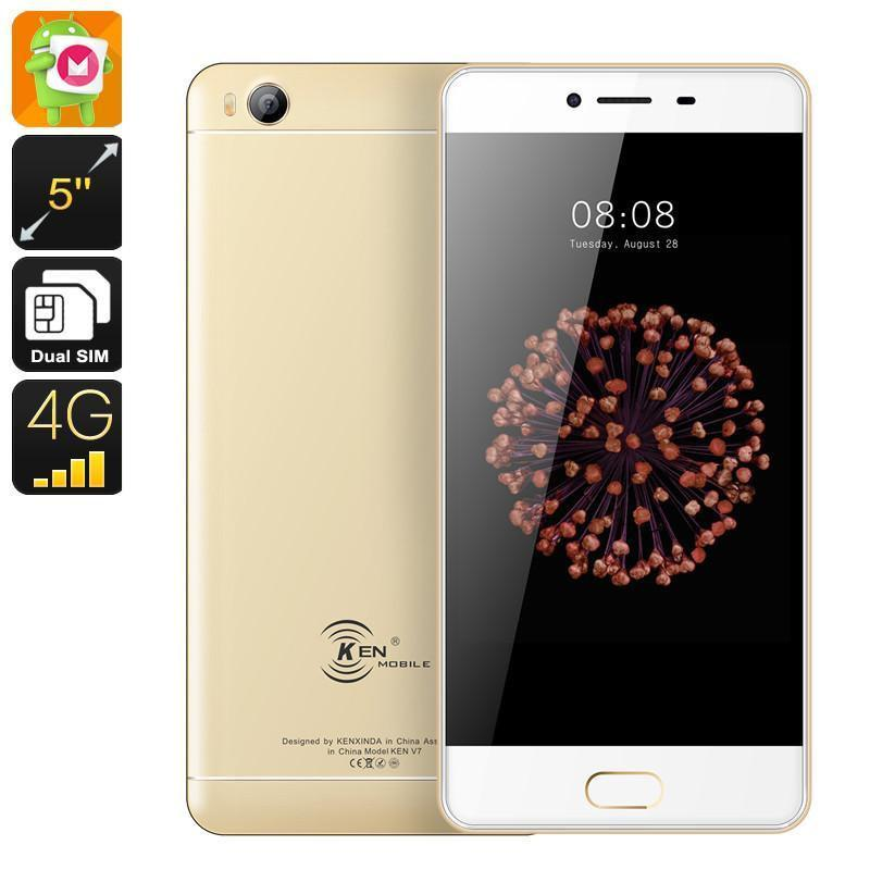HK Warehouse KEN XIN DA V7 Android Phone - MediaTek CPU, 2GB RAM, Android 6.0, 2250mAh, 5 Inch HD Display, Dual-IMEI, 4G (Gold)