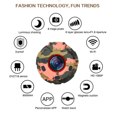 Wearable and Detachable Smart Sports Camera - 1080P, APP, Wifi, Magnetic Base, Waterproof, Car DVR, Hunting Camera (Red) - Beewik-Shop.com