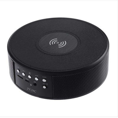 Wireless Bluetooth Speaker - Wireless Charger, NFC, TF Card Slot, FM, AUX In, Clock Alarm, Built-in Microphone (Black) - Beewik-Shop.com