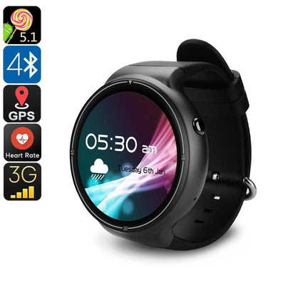 IQI I4 Pro Android Watch Phone - Bluetooth 4.0, WiFi, GPS, 1 IMEI, 3G, Pedometer, Heart Rate Monitor, Android 5.1, Quad-Core CPU - Beewik-Shop.com