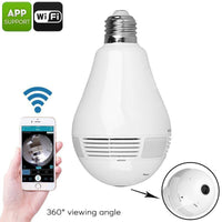 LED Light Bulb Security Camera - 360-Degree Fisheye, Motion Detection, WiFi, App, SD Card Recording, FHD Video, 3x 1W LED - Beewik-Shop.com