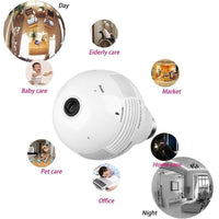LED Light Bulb Security Camera - 360-Degree Fisheye, Motion Detection, WiFi, App, SD Card Recording, FHD Video, 3x 1W LED