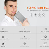 HK Warehouse Oukitel K6000 Plus Android-Handy - Android 7.0, Octa-Core-CPU, 4 GB RAM, 1080p, 6080 mAh, Dual-IMEI, OTG - Beewik-Shop.com