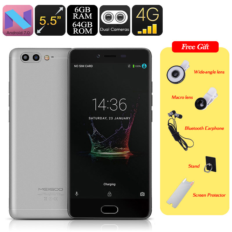 Meiigoo M1 Android Phone - Octa-Core CPU, Dual-Rear Camera, 6GB RAM, Android 7.0, 5.5 Inch FHD, 4000mAh, 4G (Gray) - Beewik-Shop.com