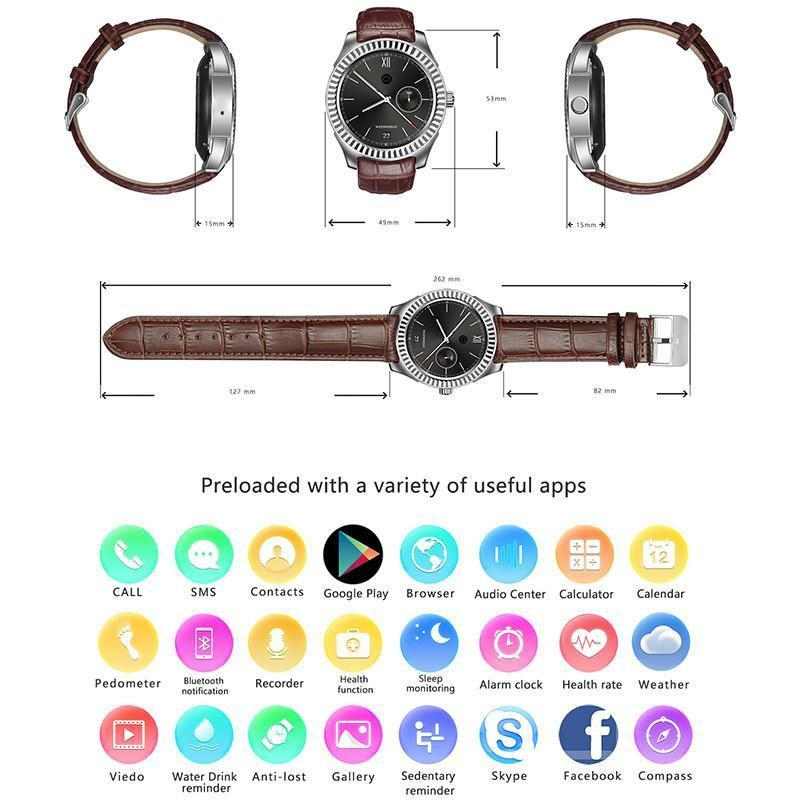 No 1 D7 Bluetooth Watch Phone - 1 IMEI, 3G, Pedometer, Heart Rate Monitor,  Phone Calls, NFC, App, Android OS (Black)