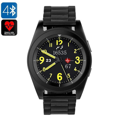 No.1 G6 Bluetooth Watch - Pedometer, Sleep Monitor, Heart Rate Monitor, Sedentary Reminder, Built-in Mic, App Control (Black) - Beewik-Shop.com