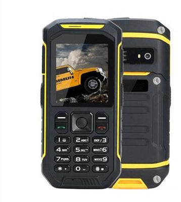 Solid phone -IP68 waterproof, FM radio, 0.3 MP camera, flashlight, 2500 mAh battery, 2.4 inch (yellow) - Beewik-Shop.com