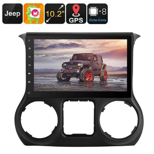 One DIN Android Media Player - For Jeep Wrangler, 10.2 Inch, Google Play, CAN BUS, Android 6, Octa-Core, 2GB RAM, GPS Navigation - Beewik-Shop.com