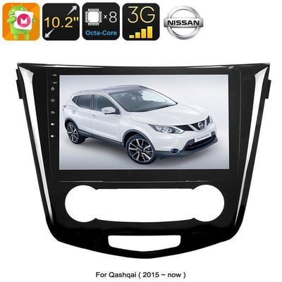 One DIN Android Media Player - For Nissan Qashqai, 10.2 Inch, Android 6.0, WiFi, 3G Support, GPS, Octa-Core, 2GB RAM, GPS - Beewik-Shop.com