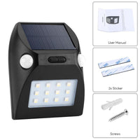 Outdoor LED Light - IP65 Waterproof, PIR Sensor, Solar Powered, 3 Sensor Modes, 600mAh Battery, 100 Lumens