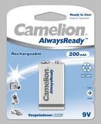 "Recargable ""Always Ready"" 9V 200mAh (1 pcs) Camelion - Beewik-Shop.com"