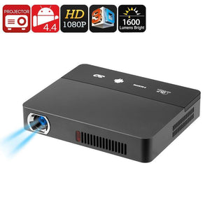 Mini Projecteur 3D - Technologie DLP, Support 1080p, 1600 Lumen, support 3D, Android OS, CPU Quad-Core, WiFi - Beewik-Shop.com