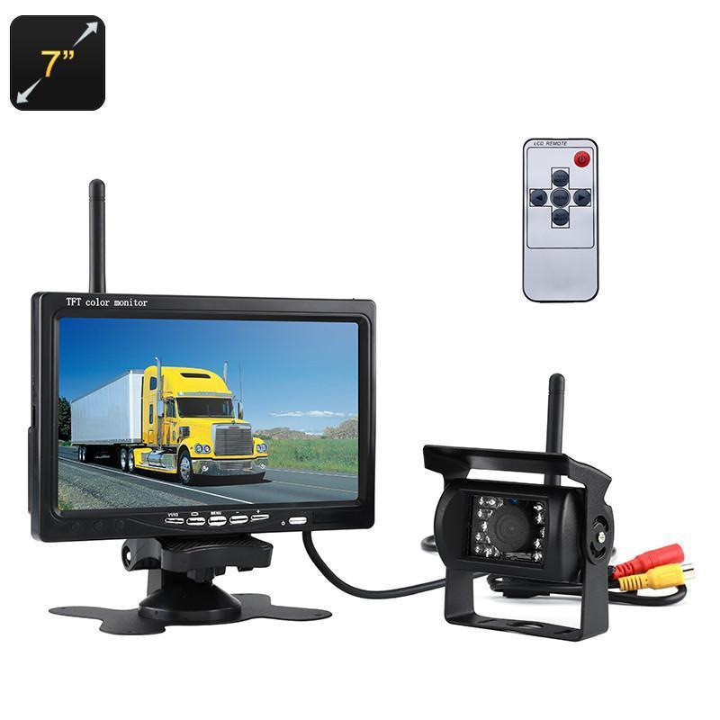 Rearview Parking Camera - 7-Inch Display, 2.4G Wireless Connection, Nightvision, Waterproof, 120-Degree Lens, 800x480p - Beewik-Shop.com