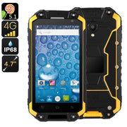 Rugged Android Phone Jeasung X8G - IP68, Dual-Band WiFi, Quad-Core CPU, 2GB RAM, Dual-IMEI, 4G, OTG, NFC, HD Display (Yellow) - Beewik-Shop.com