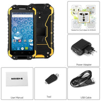 Rugged Android Phone Jeasung X8G - IP68, Dual-Band WiFi, Quad-Core CPU, 2GB RAM, Dual-IMEI, 4G, OTG, NFC, HD Display (Yellow)