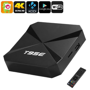 T95E Android TV Box - Android 6.0, Google Play, WiFi, Quad-Core CPU, IR Remote Control, 4K Support, 2GB RAM, Kodi 16.1