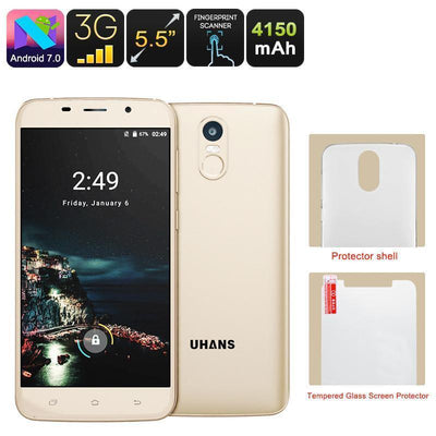 Uhans A6 Android Phone - Android 7.0, Dual-IMEI, Quad-Core CPU, 2GB RAM, Google Play, 5.5 Inch HD Display, 4150mAh Battery - Beewik-Shop.com
