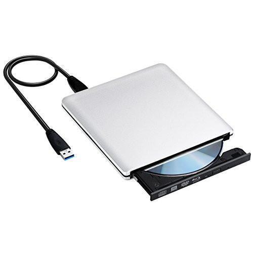 VicTsing Lecteur/Graveur Blu-ray USB 3.0 Externe Portable Graveur Drive BD/DVD/CD, ODD/HDD Externe pour Apple MacBook, MacBook Pro, MacBook Air ou d'autres Ordinateurs de Bureau/Portables avec Port USB -- Argent