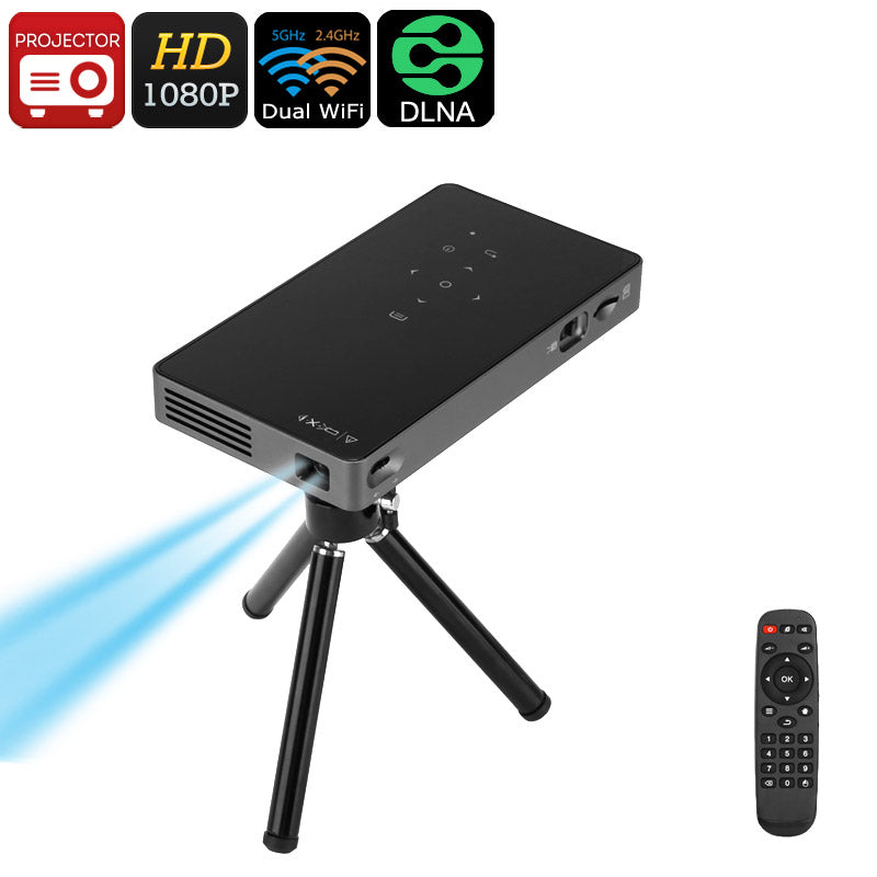 Mini-projecteur Android - 1080p, WiFi, Miracast, Bluetooth, Haut-parleur 2W - Beewik-Shop.com