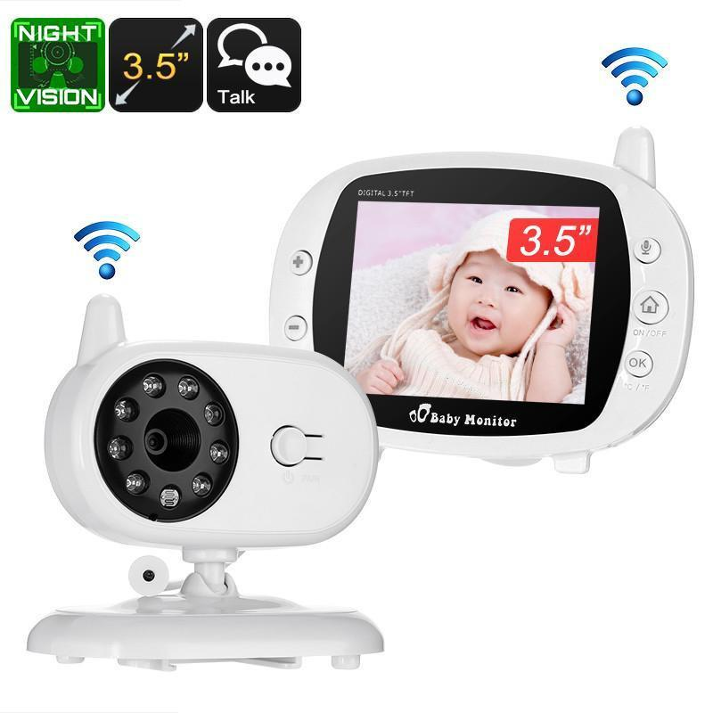 Wireless Baby Monitor - 3.5 Inch Display, Temperature Monitoring, Two-Way Audio, 3M Night Vision, IR Cut, 2.4GHz, Play Songs - Beewik-Shop.com