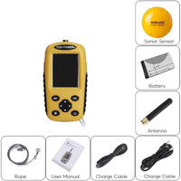Wireless Fish Finder - Sonar Technology, Wireless Sensor, 90-Degree Beam, Adjustable Depth And Sensitivity, Back Light Display